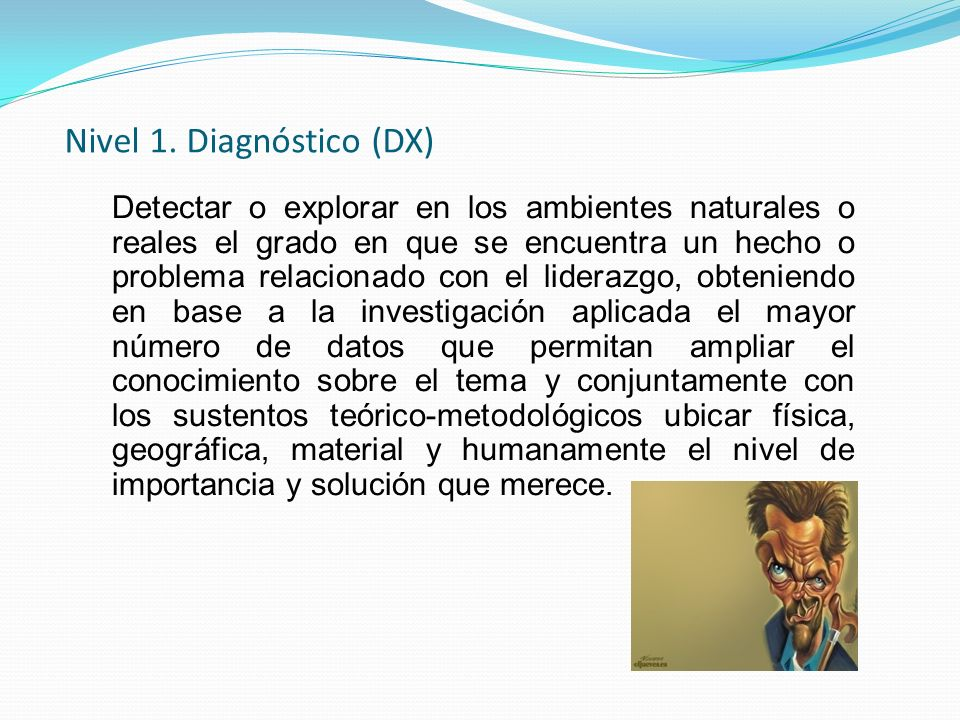 Nivel 1. Diagnóstico (DX) Detectar o explorar en los ambientes naturales o reales el grado en que se encuentra un hecho o problema relacionado con el