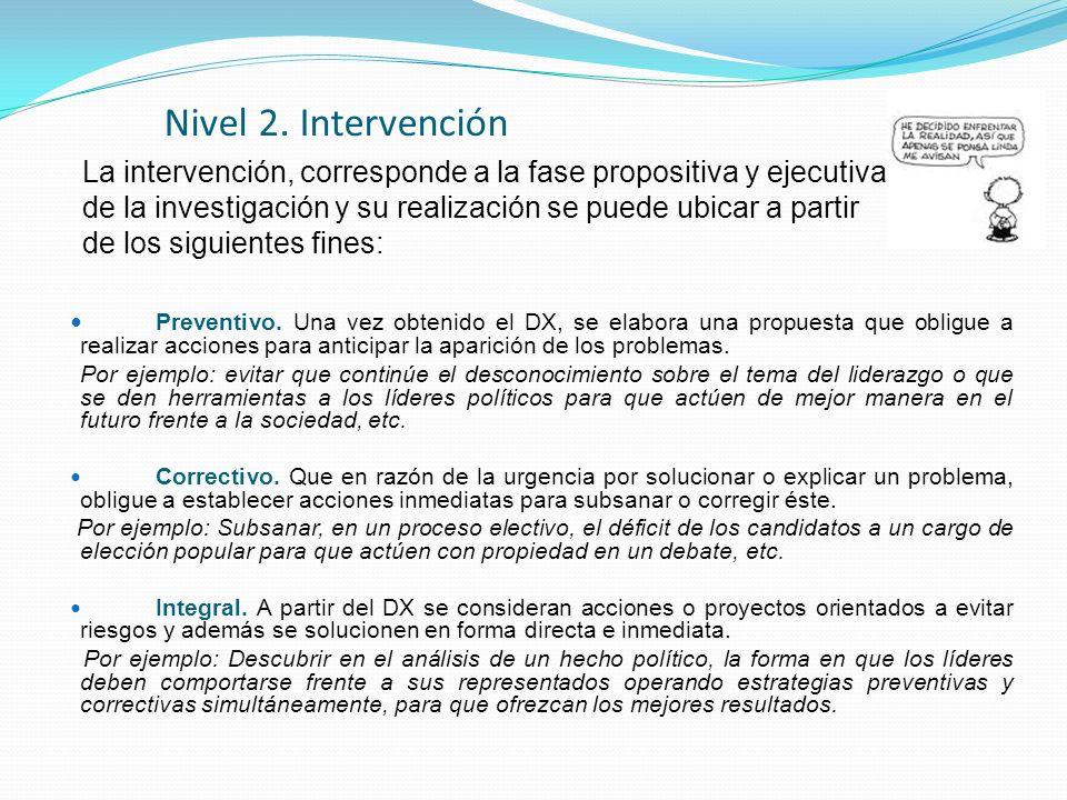 Nivel 2. Intervención Preventivo. Una vez obtenido el DX, se elabora una propuesta que obligue a realizar acciones para anticipar la aparición de los
