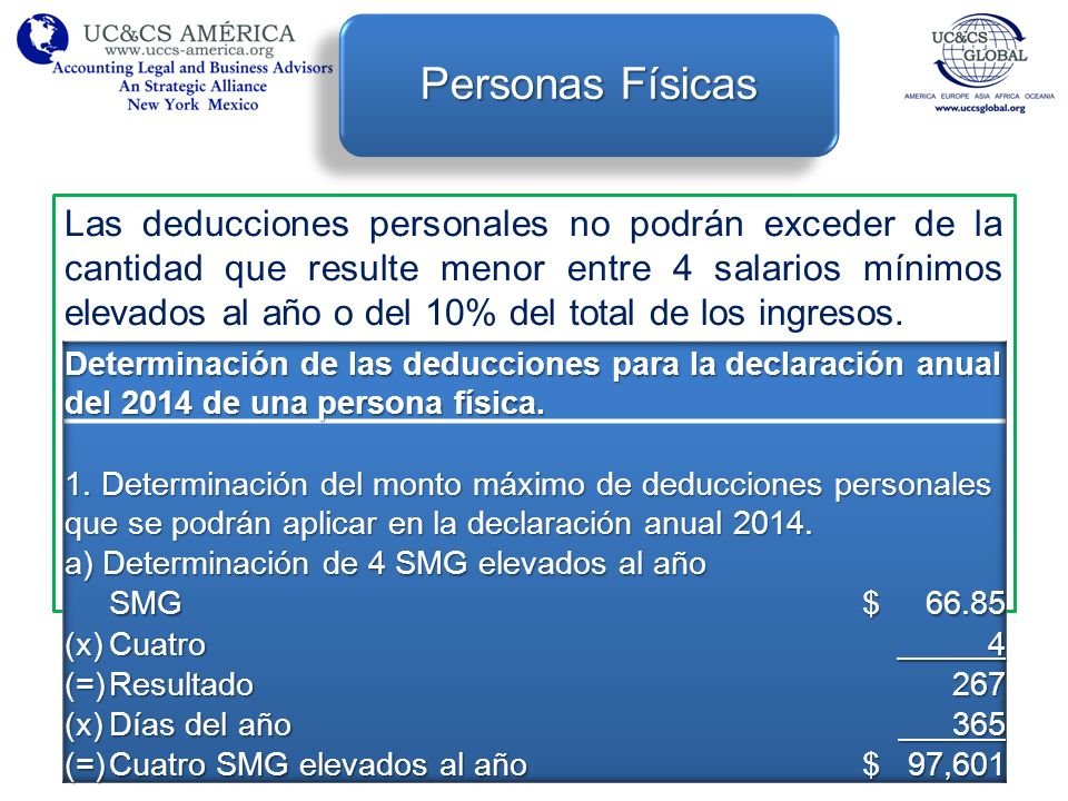 Las deducciones personales no podrán exceder de la cantidad que resulte menor entre 4 salarios mínimos elevados al año o del 10% del total de los ingr