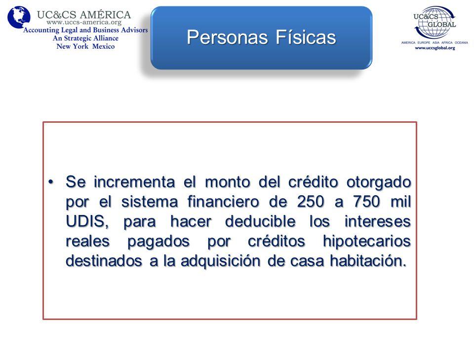 Se incrementa el monto del crédito otorgado por el sistema financiero de 250 a 750 mil UDIS, para hacer deducible los intereses reales pagados por cré