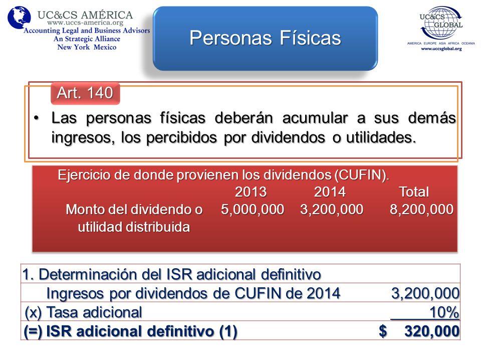 Las personas físicas deberán acumular a sus demás ingresos, los percibidos por dividendos o utilidades.Las personas físicas deberán acumular a sus dem