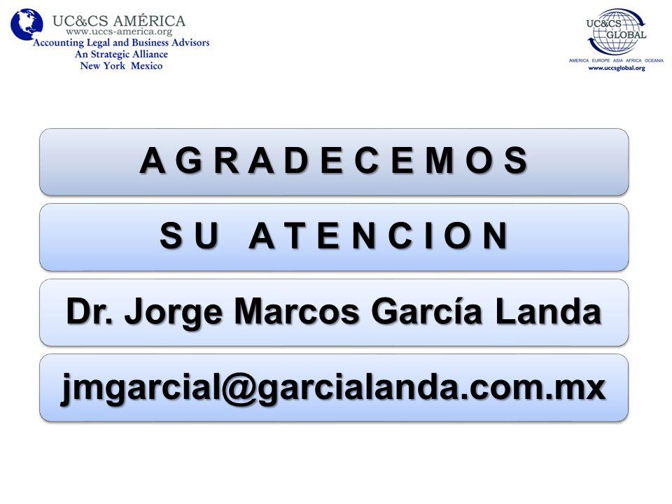 A G R A D E C E M O S S U A T E N C I O N Dr. Jorge Marcos García Landa jmgarcial@garcialanda.com.mx