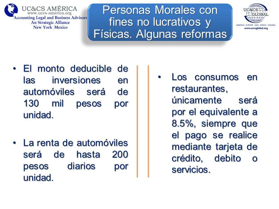 El monto deducible de las inversiones en automóviles será de 130 mil pesos por unidad.El monto deducible de las inversiones en automóviles será de 130