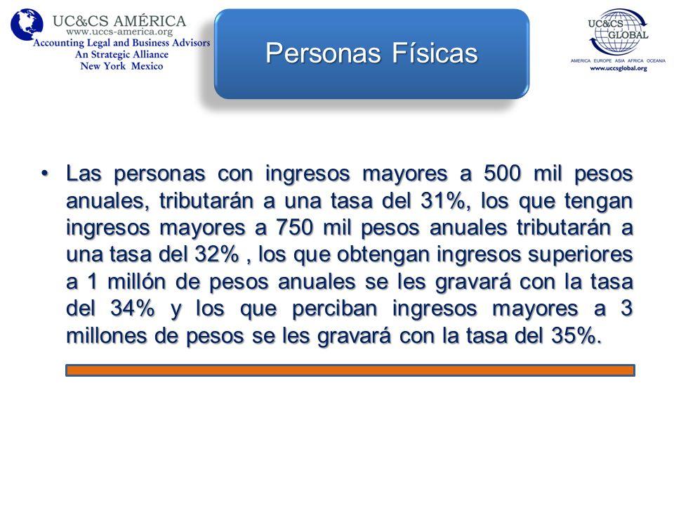 Las personas con ingresos mayores a 500 mil pesos anuales, tributarán a una tasa del 31%, los que tengan ingresos mayores a 750 mil pesos anuales trib