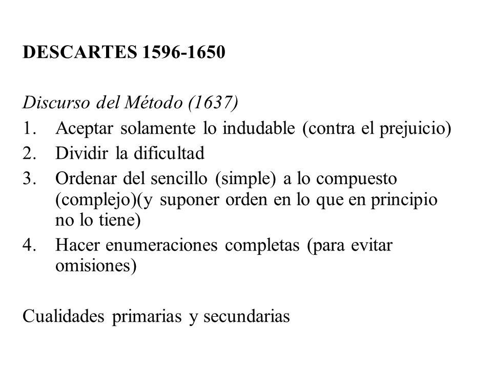 DESCARTES 1596-1650 Discurso del Método (1637) 1.Aceptar solamente lo indudable (contra el prejuicio) 2.Dividir la dificultad 3.Ordenar del sencillo (
