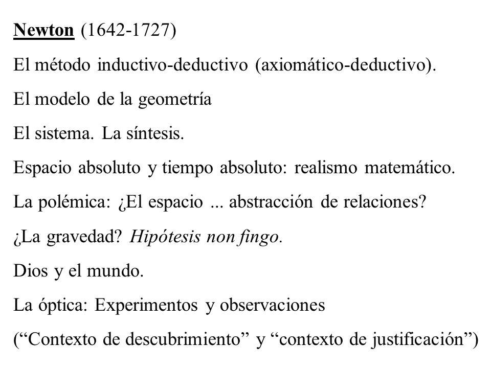Newton (1642-1727) El método inductivo-deductivo (axiomático-deductivo). El modelo de la geometría El sistema. La síntesis. Espacio absoluto y tiempo