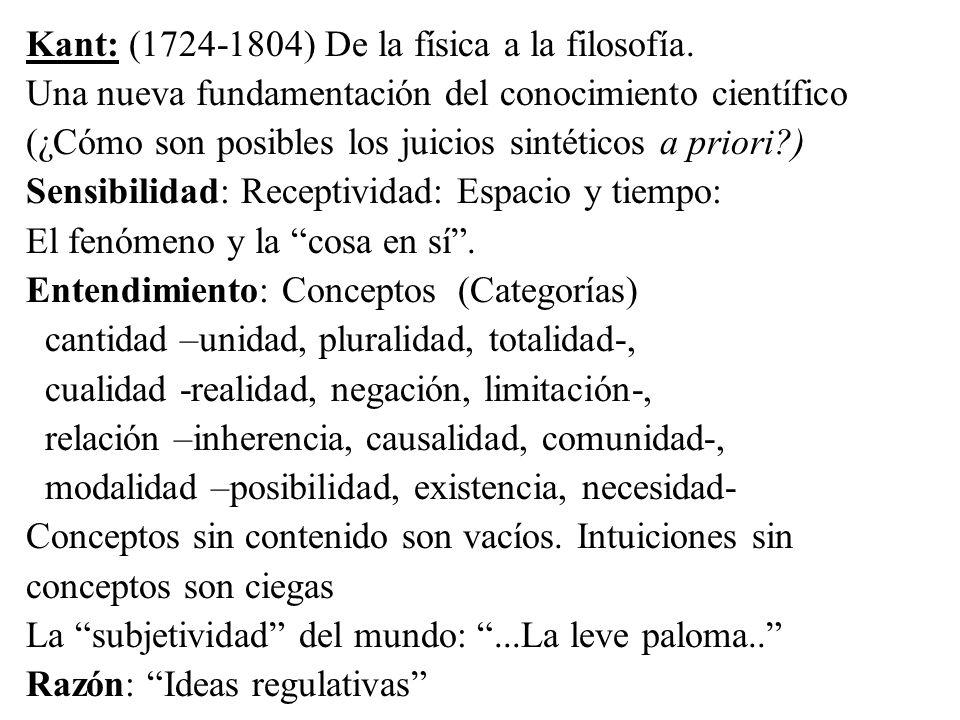 Kant: (1724-1804) De la física a la filosofía. Una nueva fundamentación del conocimiento científico (¿Cómo son posibles los juicios sintéticos a prior