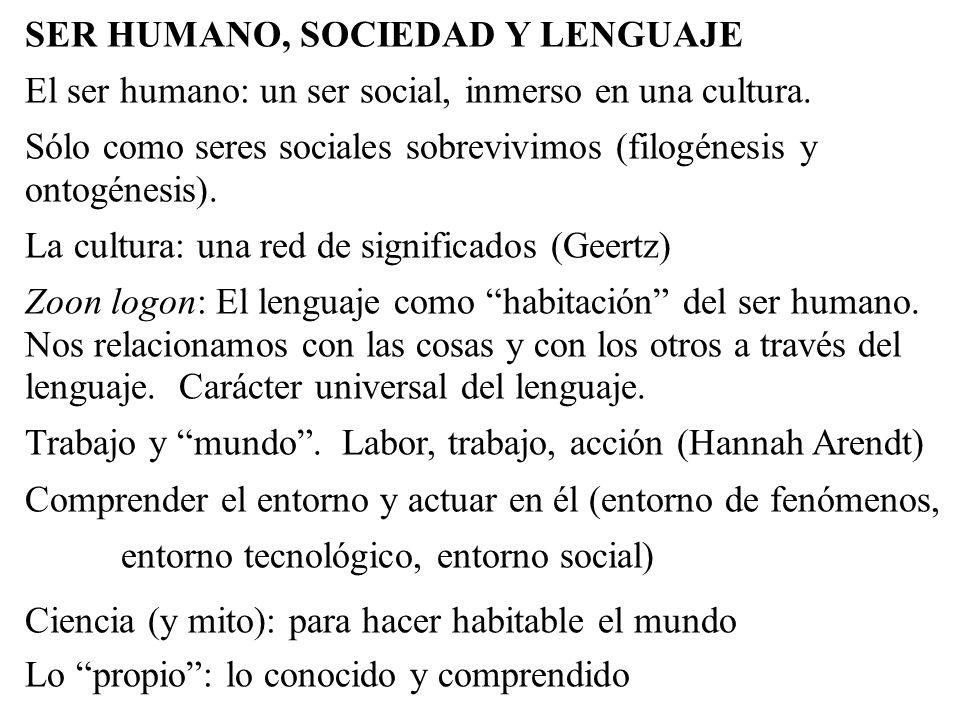 SER HUMANO, SOCIEDAD Y LENGUAJE El ser humano: un ser social, inmerso en una cultura. Sólo como seres sociales sobrevivimos (filogénesis y ontogénesis