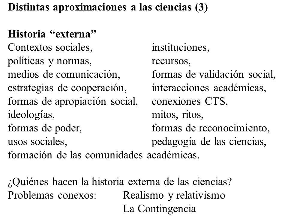 Distintas aproximaciones a las ciencias (3) Historia externa Contextos sociales,instituciones, políticas y normas, recursos, medios de comunicación, f