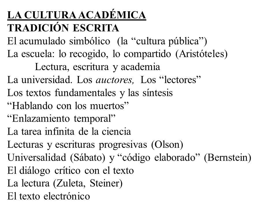 LA CULTURA ACADÉMICA TRADICIÓN ESCRITA El acumulado simbólico (la cultura pública) La escuela: lo recogido, lo compartido (Aristóteles) Lectura, escri