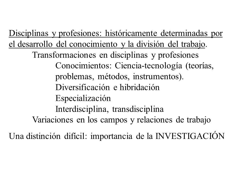 Disciplinas y profesiones: históricamente determinadas por el desarrollo del conocimiento y la división del trabajo. Transformaciones en disciplinas y