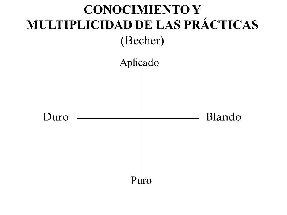 DuroBlando CONOCIMIENTO Y MULTIPLICIDAD DE LAS PRÁCTICAS (Becher) Puro Aplicado