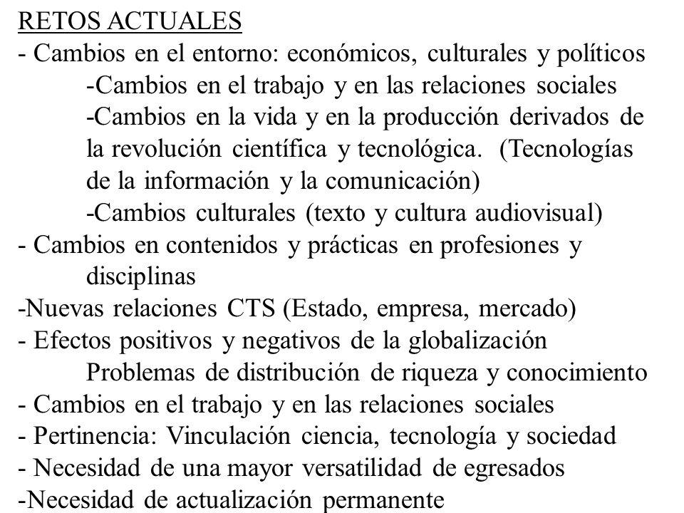 RETOS ACTUALES - Cambios en el entorno: económicos, culturales y políticos -Cambios en el trabajo y en las relaciones sociales -Cambios en la vida y e