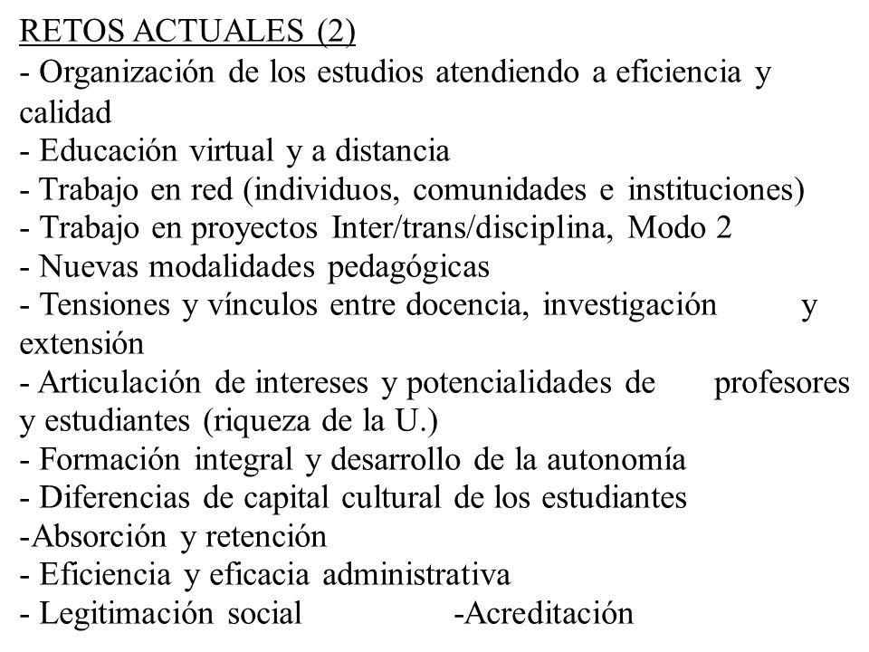 RETOS ACTUALES (2) - Organización de los estudios atendiendo a eficiencia y calidad - Educación virtual y a distancia - Trabajo en red (individuos, co