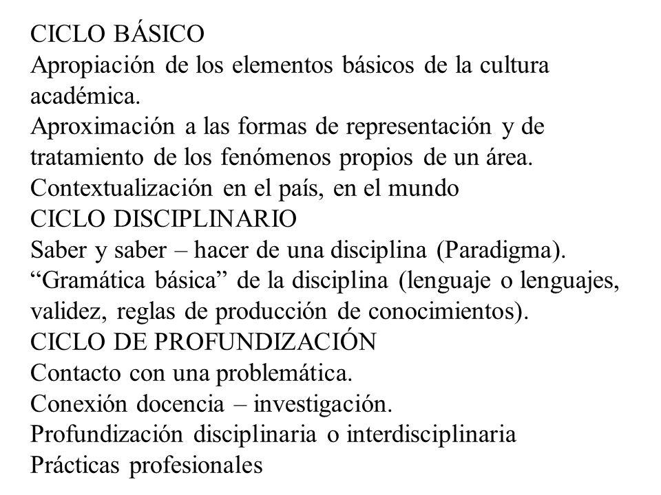CICLO BÁSICO Apropiación de los elementos básicos de la cultura académica. Aproximación a las formas de representación y de tratamiento de los fenómen