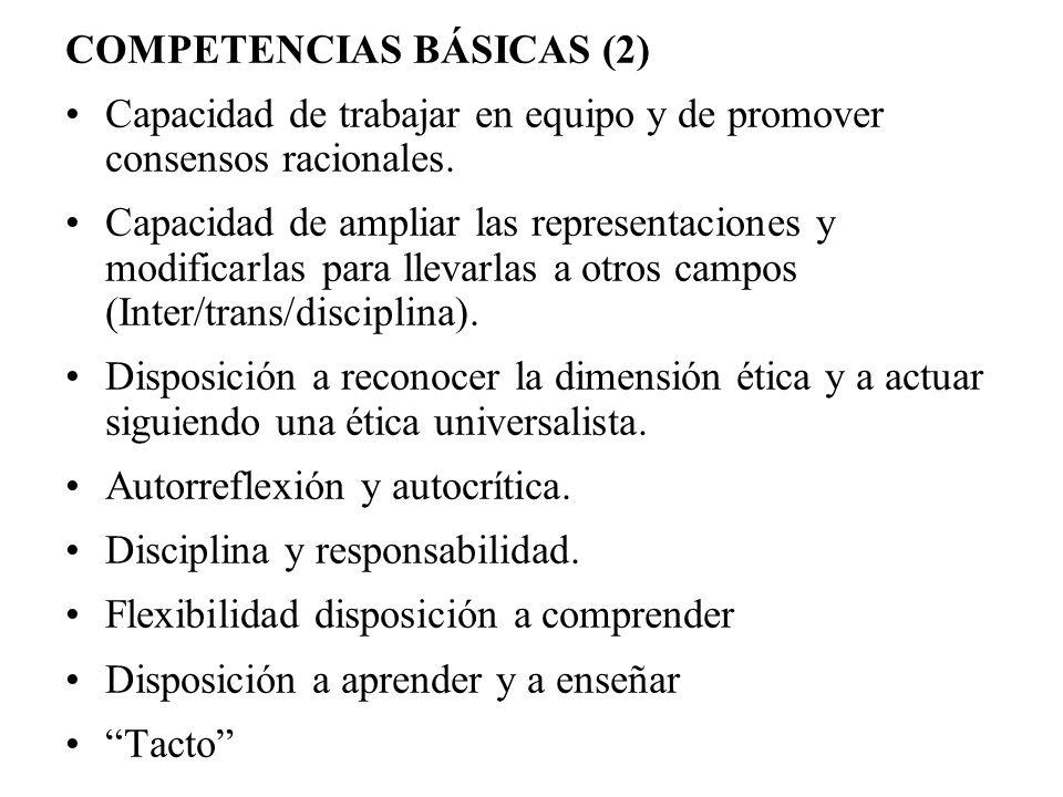 COMPETENCIAS BÁSICAS (2) Capacidad de trabajar en equipo y de promover consensos racionales. Capacidad de ampliar las representaciones y modificarlas