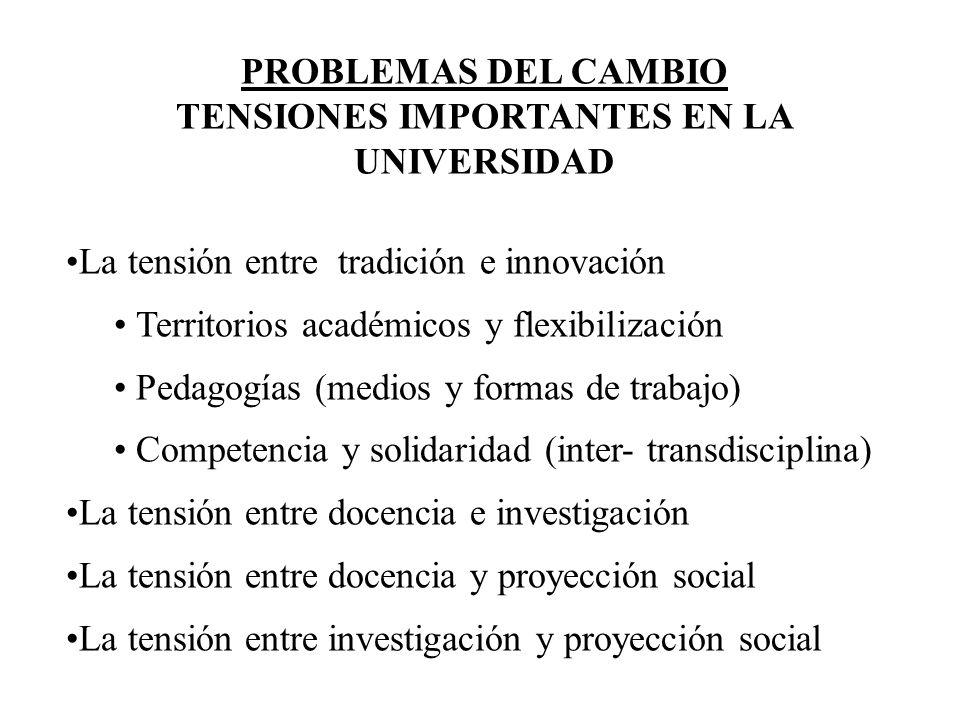 PROBLEMAS DEL CAMBIO TENSIONES IMPORTANTES EN LA UNIVERSIDAD La tensión entre tradición e innovación Territorios académicos y flexibilización Pedagogí