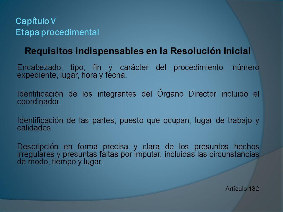 Capítulo V Etapa procedimental Requisitos indispensables en la resolución Inicial Descripción del elenco probatorio.
