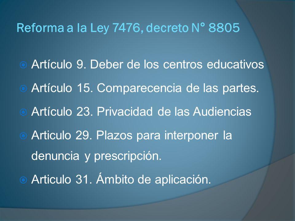 Reforma a la Ley 7476, Decreto N° 8805 CAPÍTULO V: El procedimiento en el lugar de trabajo Artículo 18.