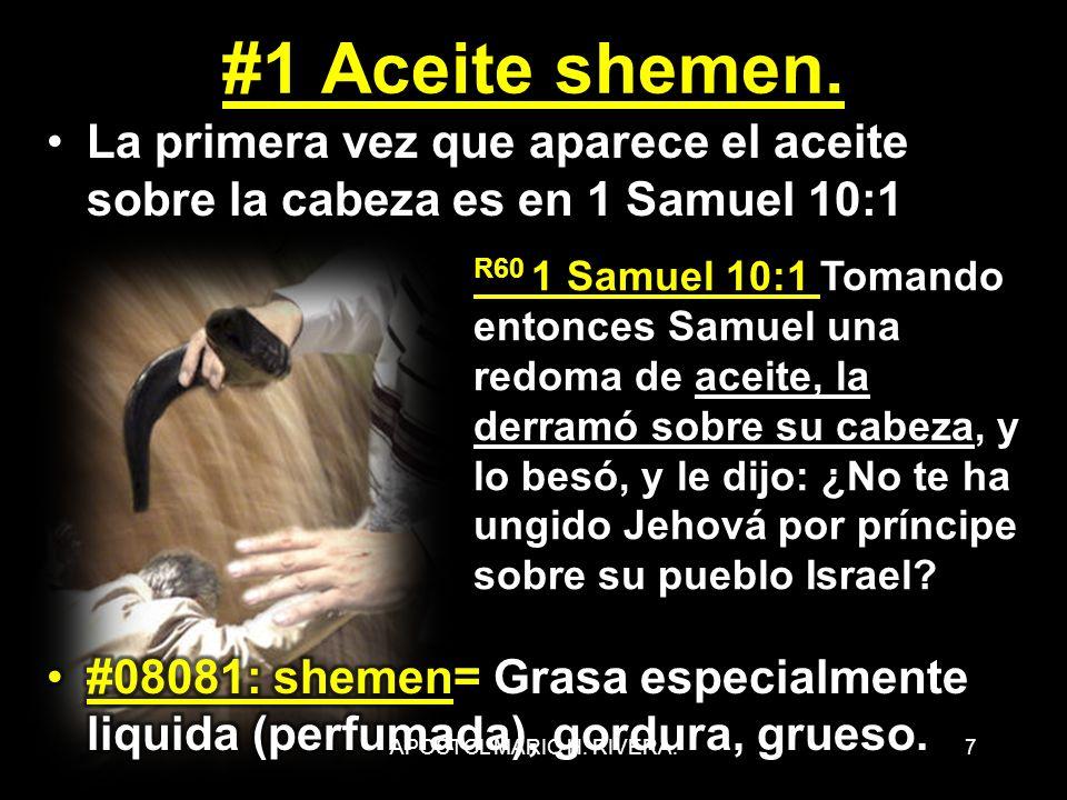 7 R60 1 Samuel 10:1 Tomando entonces Samuel una redoma de aceite, la derramó sobre su cabeza, y lo besó, y le dijo: ¿No te ha ungido Jehová por prínci