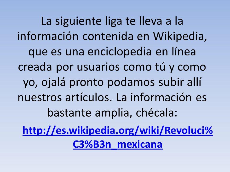 En la siguiente página encontramos una línea del tiempo con aspectos importantes pero sobre todo con un excelente diseño, digna de imprimirse para un periódico mural: http://davidaustria.com/2011/09/16/inf ografia-de-la-revolucion-mexicana/