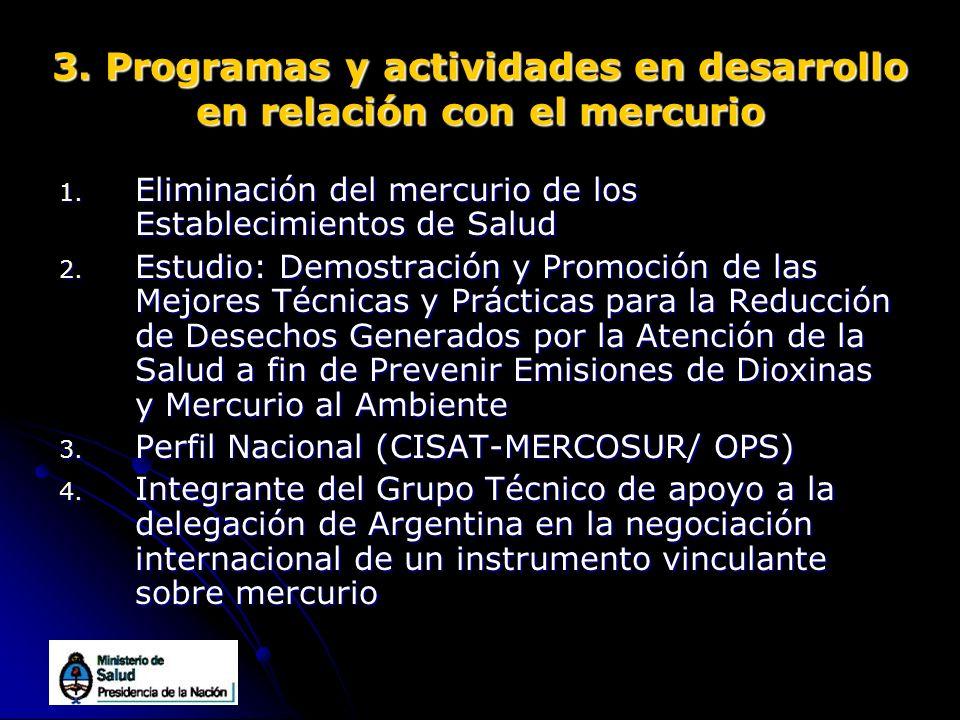 3. Programas y actividades en desarrollo en relación con el mercurio 1. Eliminación del mercurio de los Establecimientos de Salud 2. Estudio: Demostra