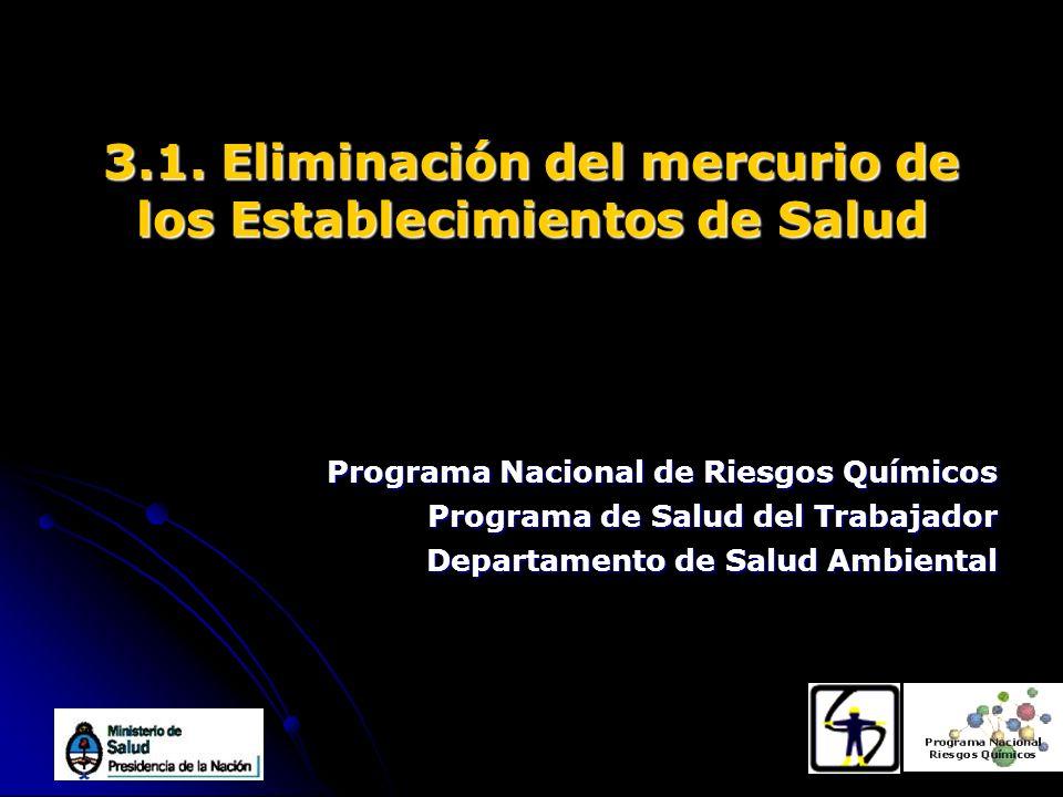 Programa Nacional de Riesgos Químicos Programa de Salud del Trabajador Departamento de Salud Ambiental 3.1. Eliminación del mercurio de los Establecim