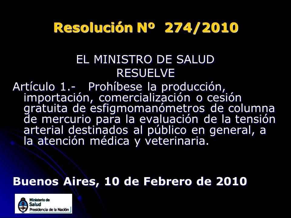 Resolución Nº 274/2010 EL MINISTRO DE SALUD RESUELVE Artículo 1.- Prohíbese la producción, importación, comercialización o cesión gratuita de esfigmom