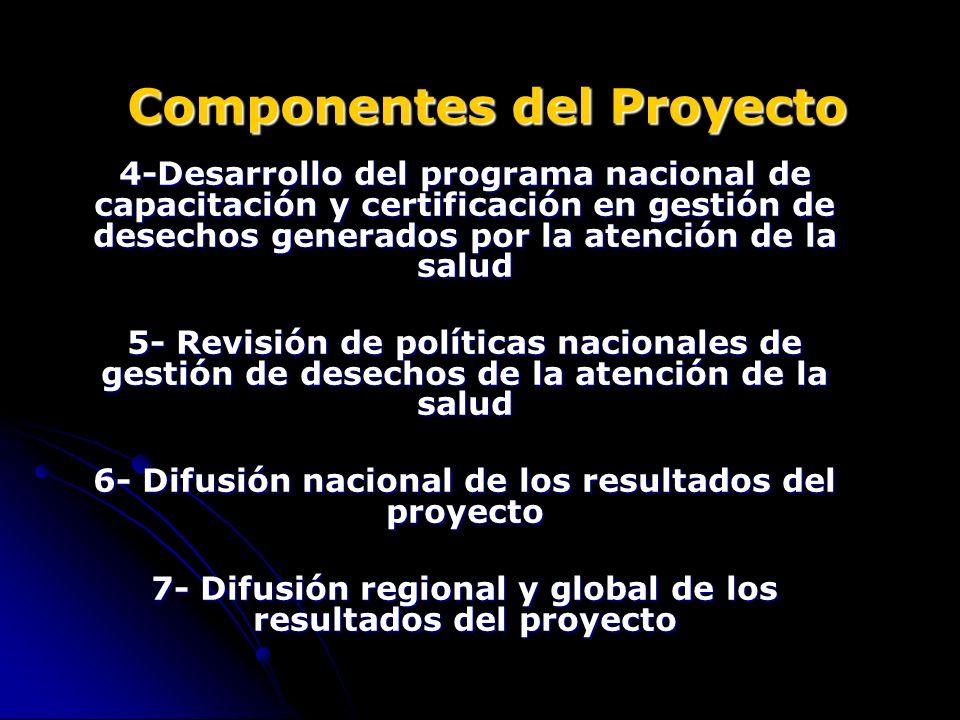Componentes del Proyecto 4-Desarrollo del programa nacional de capacitación y certificación en gestión de desechos generados por la atención de la sal