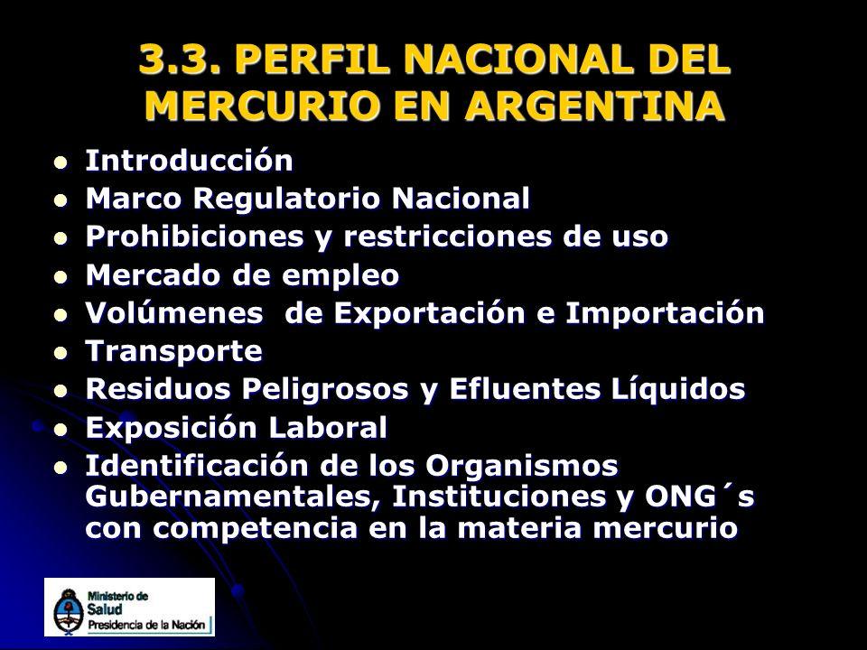 3.3. PERFIL NACIONAL DEL MERCURIO EN ARGENTINA Introducción Introducción Marco Regulatorio Nacional Marco Regulatorio Nacional Prohibiciones y restric