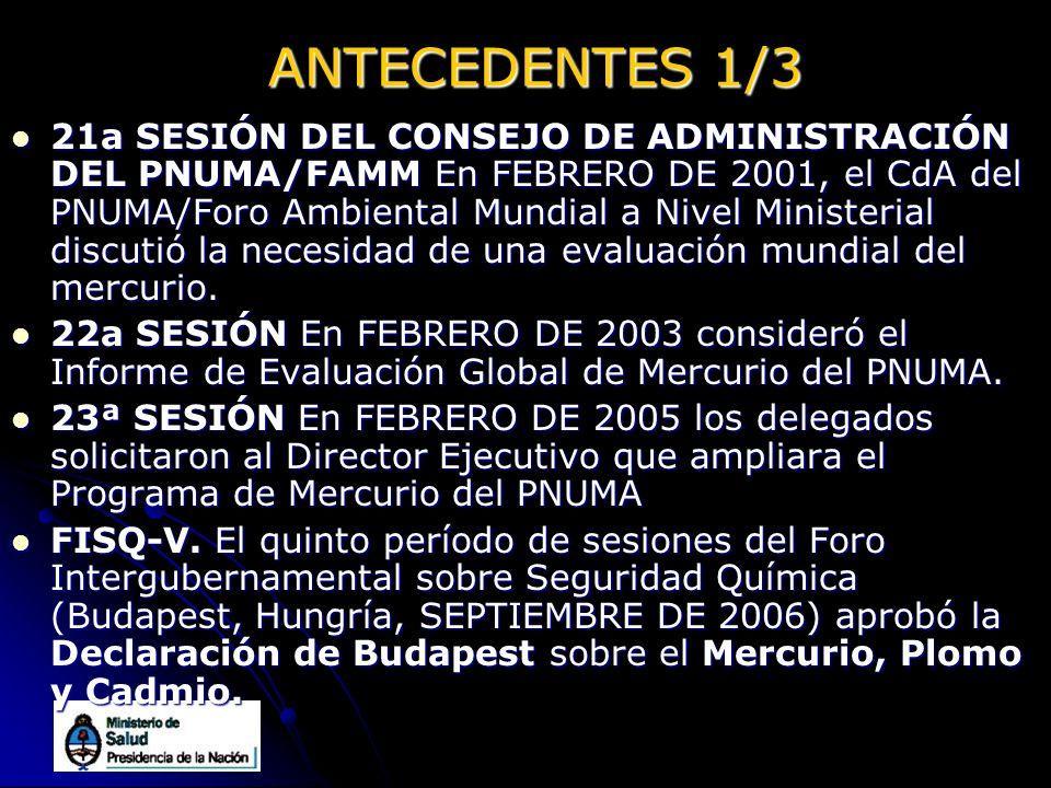 ANTECEDENTES 1/3 21a SESIÓN DEL CONSEJO DE ADMINISTRACIÓN DEL PNUMA/FAMM En FEBRERO DE 2001, el CdA del PNUMA/Foro Ambiental Mundial a Nivel Ministeri