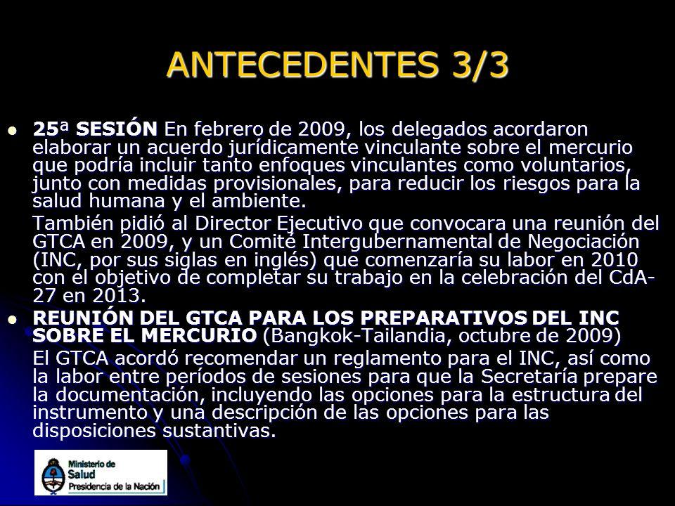 ANTECEDENTES 3/3 25ª SESIÓN En febrero de 2009, los delegados acordaron elaborar un acuerdo jurídicamente vinculante sobre el mercurio que podría incl