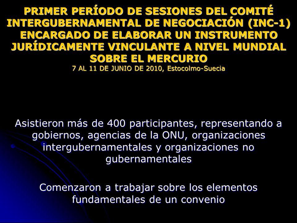 PRIMER PERÍODO DE SESIONES DEL COMITÉ INTERGUBERNAMENTAL DE NEGOCIACIÓN (INC-1) ENCARGADO DE ELABORAR UN INSTRUMENTO JURÍDICAMENTE VINCULANTE A NIVEL
