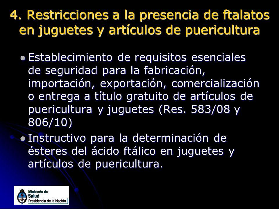 4. Restricciones a la presencia de ftalatos en juguetes y artículos de puericultura Establecimiento de requisitos esenciales de seguridad para la fabr