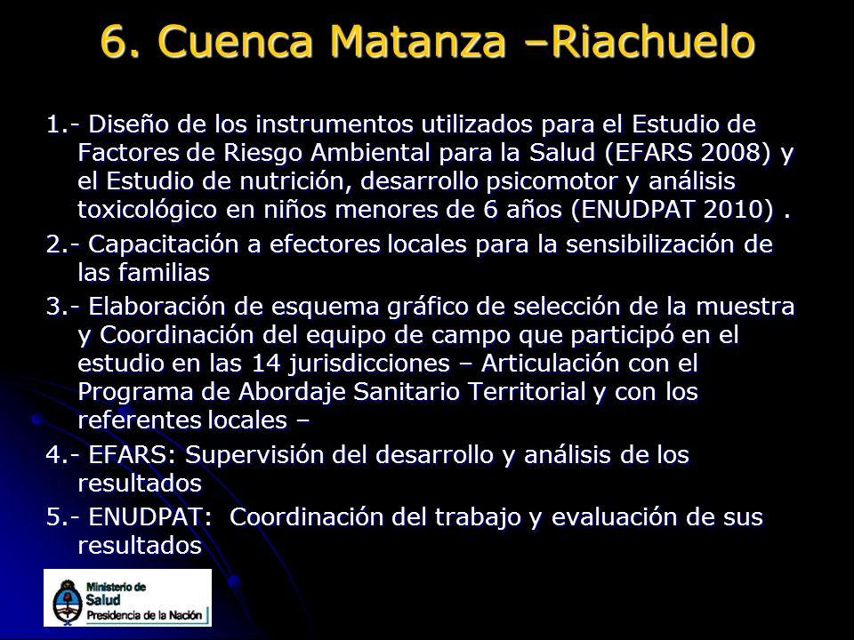 6. Cuenca Matanza –Riachuelo 1.- Diseño de los instrumentos utilizados para el Estudio de Factores de Riesgo Ambiental para la Salud (EFARS 2008) y el