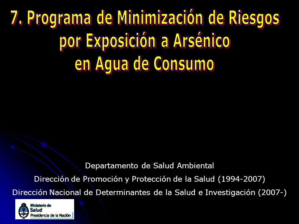 Departamento de Salud Ambiental Dirección de Promoción y Protección de la Salud (1994-2007) Dirección Nacional de Determinantes de la Salud e Investig