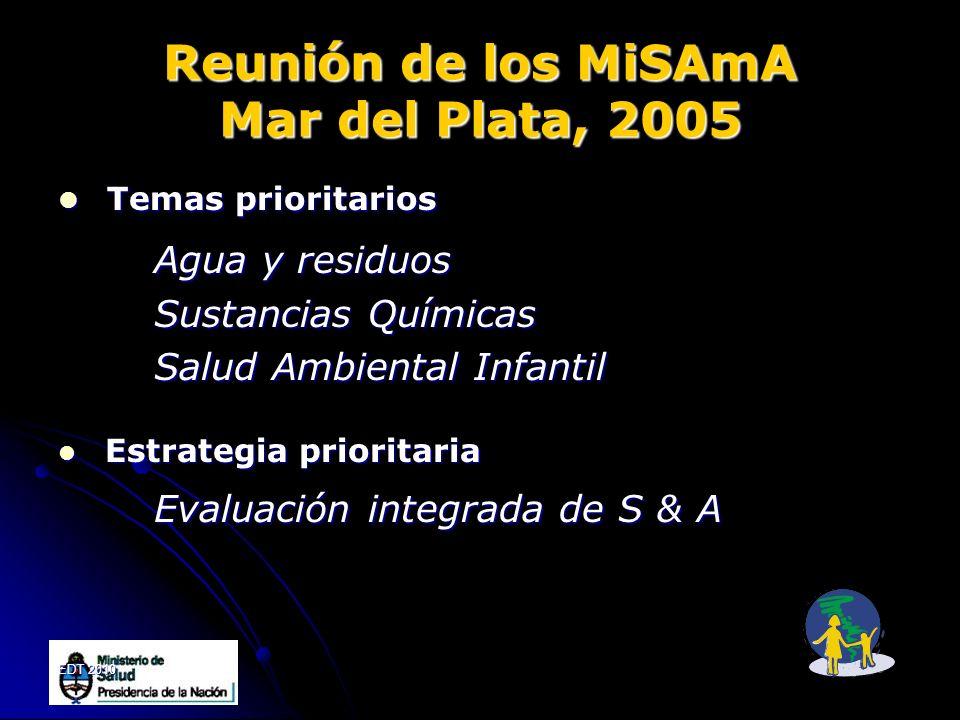 EDT 2010 Reunión de los MiSAmA Mar del Plata, 2005 Temas prioritarios Temas prioritarios Agua y residuos Sustancias Químicas Salud Ambiental Infantil