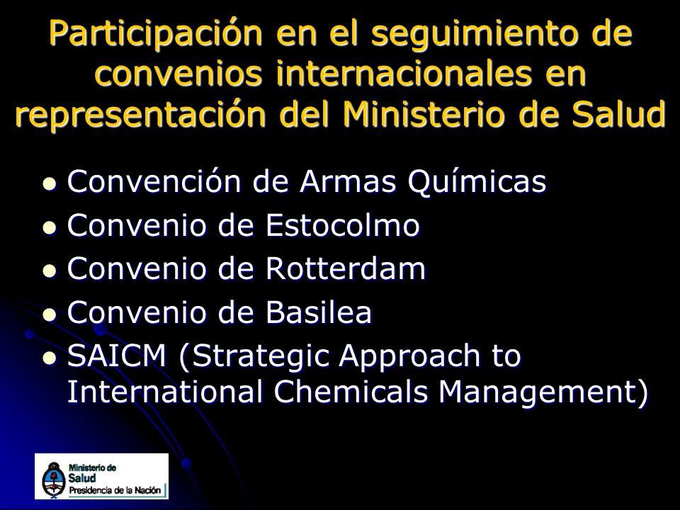 Participación en el seguimiento de convenios internacionales en representación del Ministerio de Salud Convención de Armas Químicas Convención de Arma