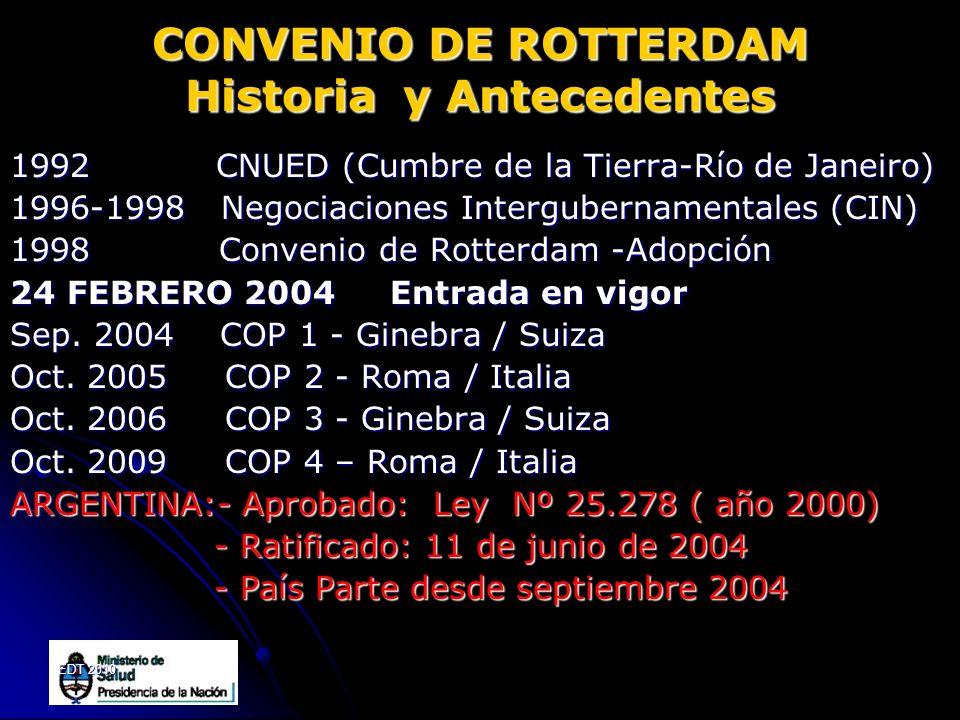 EDT 2010 CONVENIO DE ROTTERDAM Historia y Antecedentes 1992 CNUED (Cumbre de la Tierra-Río de Janeiro) 1996-1998 Negociaciones Intergubernamentales (C