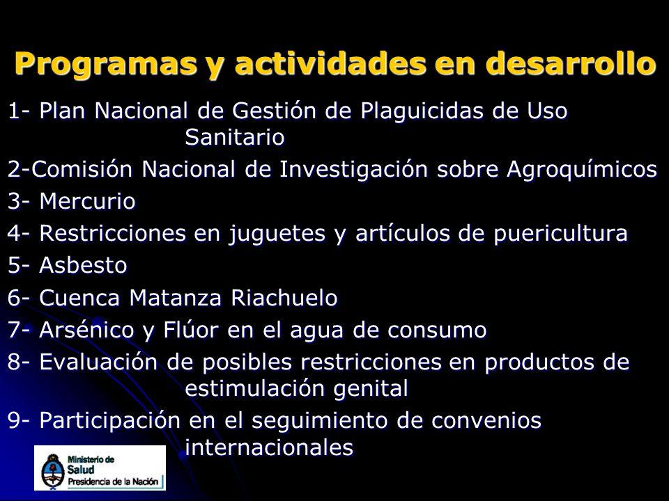 Programas y actividades en desarrollo 1- Plan Nacional de Gestión de Plaguicidas de Uso Sanitario 2-Comisión Nacional de Investigación sobre Agroquími