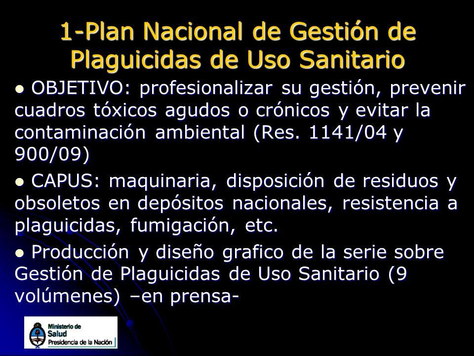 1-Plan Nacional de Gestión de Plaguicidas de Uso Sanitario OBJETIVO: profesionalizar su gestión, prevenir cuadros tóxicos agudos o crónicos y evitar l