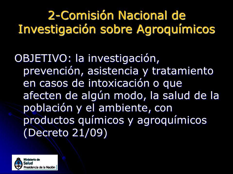 2-Comisión Nacional de Investigación sobre Agroquímicos OBJETIVO: la investigación, prevención, asistencia y tratamiento en casos de intoxicación o qu