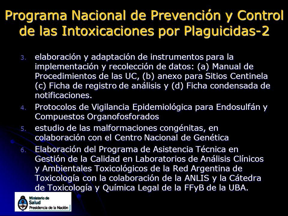 Programa Nacional de Prevención y Control de las Intoxicaciones por Plaguicidas-2 3. elaboración y adaptación de instrumentos para la implementación y