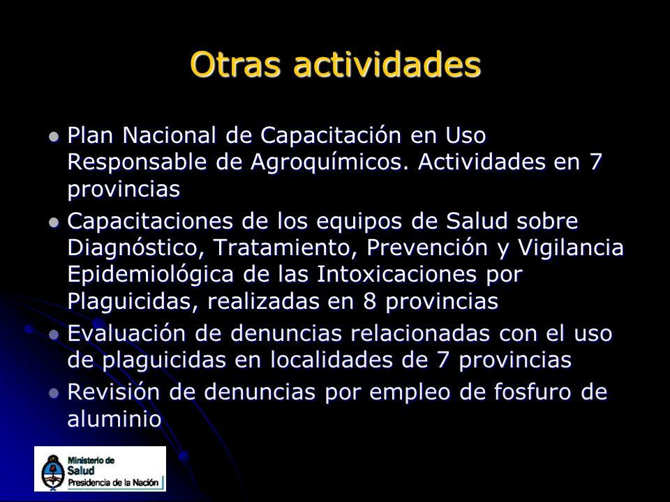 Otras actividades Plan Nacional de Capacitación en Uso Responsable de Agroquímicos. Actividades en 7 provincias Plan Nacional de Capacitación en Uso R