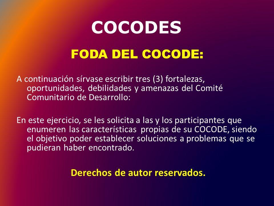 COCODES Ejemplo de FODA Comunitario: Referido a facilidades educativas en la comunidad: Fortalezas Oportunidades Contar con un edificio Supervisión Educativa coordinando escolar en la comunidad.