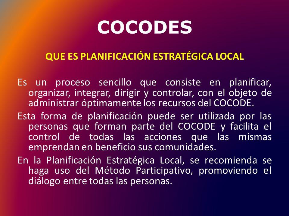 COCODES OBJETIVOS: MONOGRAFÍA DE LA COMUNIDAD (Estudio de las características propias de la comunidad) DIAGNÓSTICO COMUNITARIO (Problemas comunitarios, causas y efectos) PLAN DE DESARROLLO LOCAL (PLANIFICACIÓN ESTRATÉGICA LOCAL)
