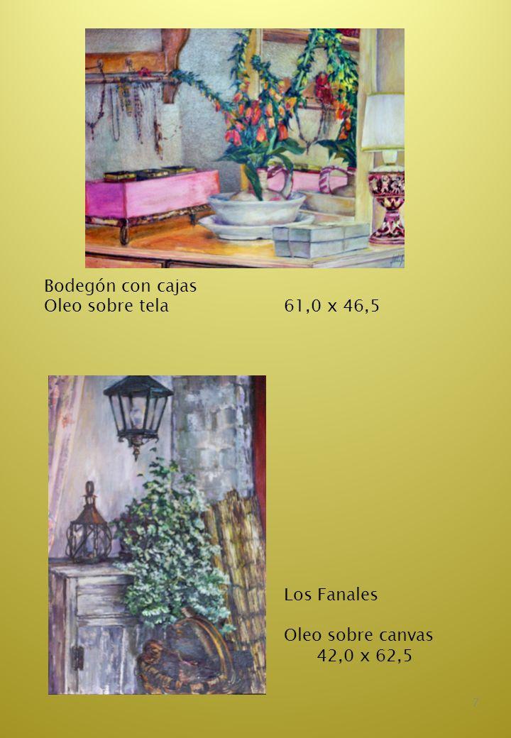 8 Copa frutas y telas Oleo sobre cartón 40,0 x 50,5 Las sillas rojas Oleo sobre cartón 49,0 x 50,5