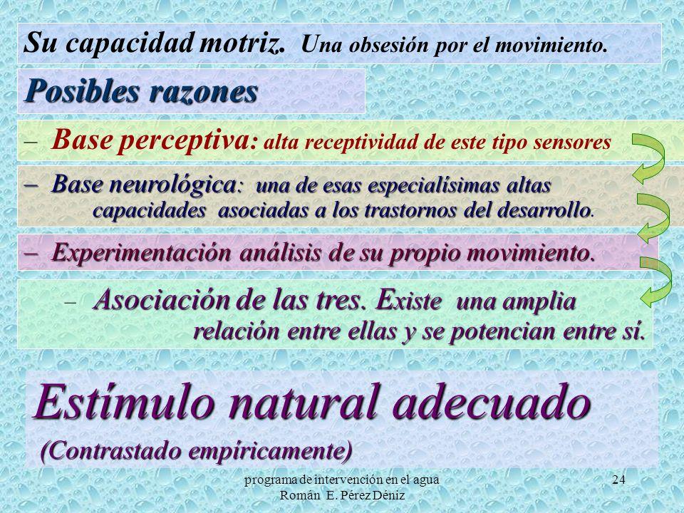 24 Estímulo natural adecuado (Contrastado empíricamente) (Contrastado empíricamente) Su capacidad motriz. U na obsesión por el movimiento. Posibles ra