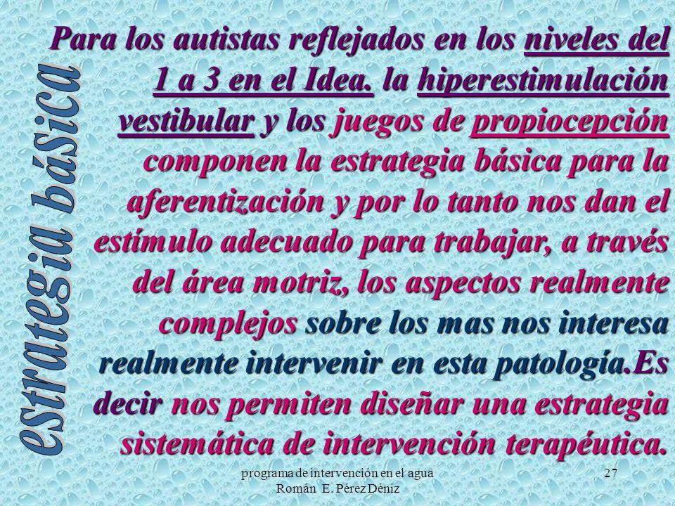 27 Para los autistas reflejados en los niveles del 1 a 3 en el Idea. la hiperestimulación vestibular y los juegos de propiocepción componen la estrate