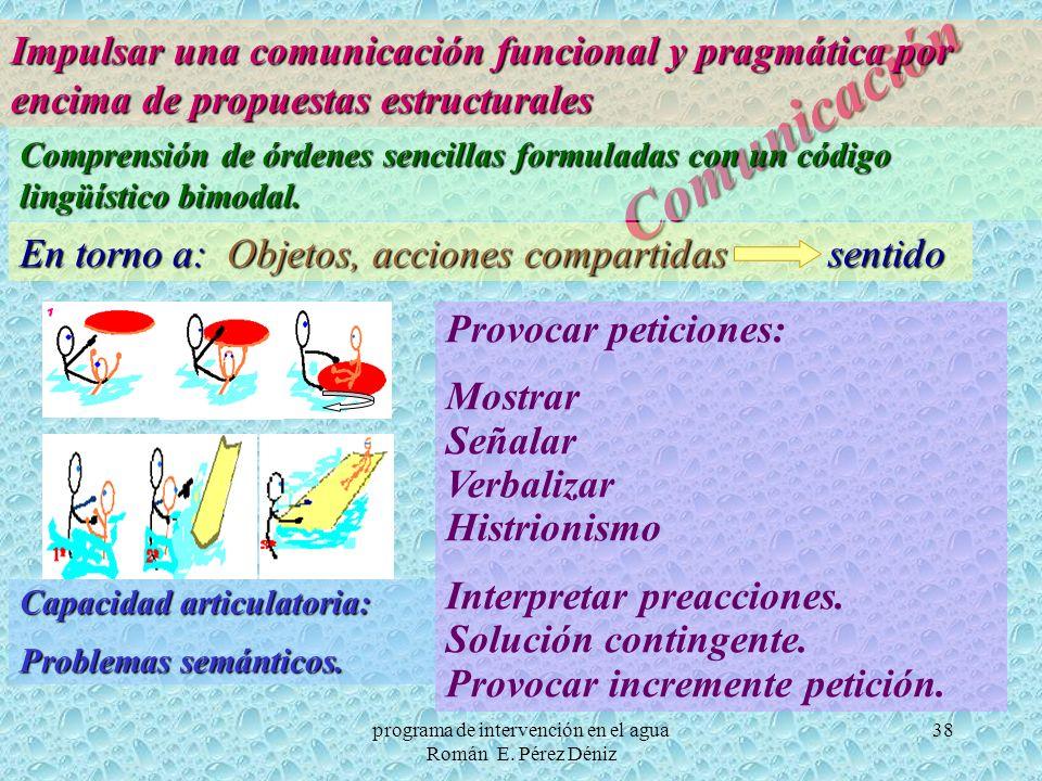 38 Comunicación Impulsar una comunicación funcional y pragmática por encima de propuestas estructurales Comprensión de órdenes sencillas formuladas co
